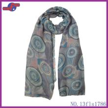 GRAY ROUND COLORFUL LOLLIPOP PRINTED POLYESTER SCARF