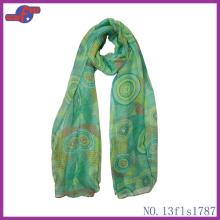 GREEN ROUND COLORFUL LOLLIPOP PRINTED POLYESTER SCARF
