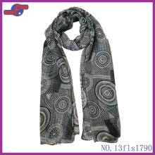 BLACK ROUND COLORFUL LOLLIPOP PRINTED POLYESTER SCARF