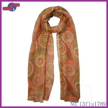 ORANGE ROUND COLORFUL LOLLIPOP PRINTED POLYESTER SCARF