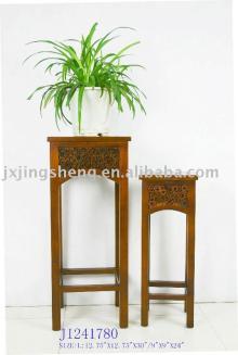 Set/2 wood and cinnamon flowerpot holder table