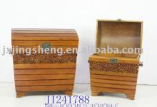 Set/2 wooden and cinnamon antique storage box,bins