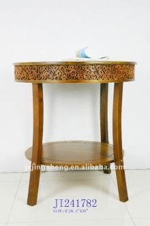Wooden and cinnamon round coffee table