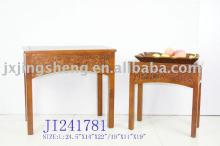 Set/2 wooden and cinnamon coffee and side table