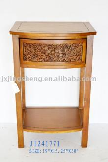 Wooden and cinnamon table with drawer