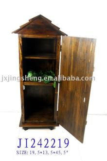 Wooden and cinnamon storage cabinet with door and rollers