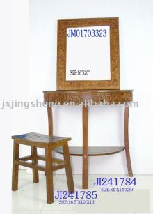 Wooden and cinnamon dressing table with stool