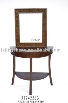 Wooden and cinnamon half round antique dressing table with mirror