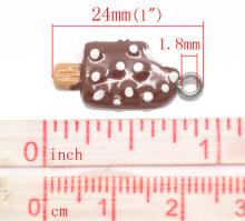 Sweet Lovely Resin Chocolate Ice Cream Bar Charm  Pendant s 24x10mm(1 x3/8 ), sold per pack