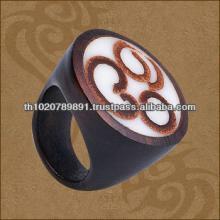 Organic Round  Wood  Ring With Cinnamon