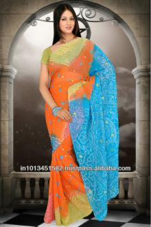 Chiffon saree with work in Light Olive, Saffron and Sea Blue color