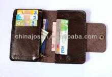 Mens Dark Chocolate Bifold engraved fine Leather button &  zipper  multiple Wallets man