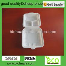 9 inch with 3 compartment disposable lunch boxes with handle made from corn starch