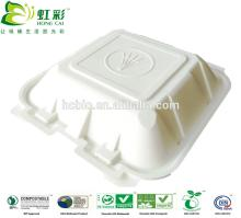 Corn starch 100% biodegradable disposable plastic lunch box with hinged lid