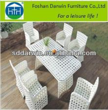 White Synthetic Wicker  Outdoor  Rattan Dining Table and Chair DW-DT0879