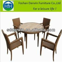 Outdoor Plastic Wood Table and Garden Rattan American Style Chair DW-DT006