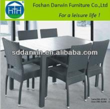 Outdoor Wicker Wood Dining Table and Rattan Chairs DW-DT051