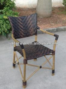 Bamboo look aluminium outdoor chair stackable chair armrest(DW-BC014)