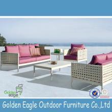 White PE rattan  plastic  wood patio furniture