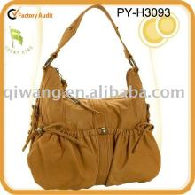 fashion ladies  hobo genuine  leather  bag with ruched front pockets