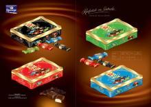 Dark Chocolate Coated Fondant Chokotoff in Black, Red, Blue and Green Metal Tin