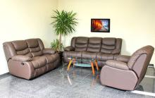 Leather recliner sofa AMANDA - Brown Middle brown Dark brown Shining brown Metallic brown Chocolate