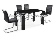 Luxury Black Glass furniture PU & chrome dining sets