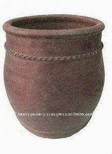 AAZ Large black clay pot- Tall dark clay pot- Giant Outdoor Pots