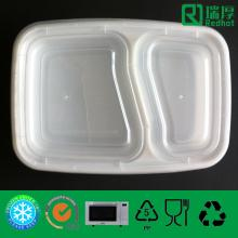 Two Compartments Clear Plastic Lunch Box 1000ml
